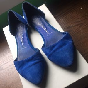 Jeffrey Campbell In Love Blue Suede D'Orsay Flats